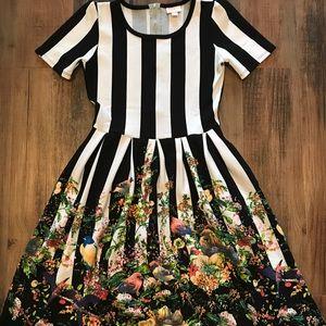 Lularoe Amelia striped floral bird dress S unicorn